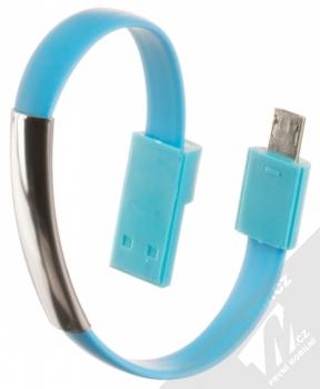 Blue Star Bracelet malý USB kabel s microUSB konektorem ve formě náramku na ruku modrá (blue)