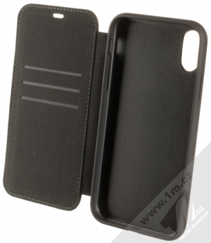 BMW Signature Real Leather flipové pouzdro z pravé kůže pro Apple iPhone XR (BMFLBKI61LLSB) černá (black) otevřené