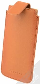 Bugatti Francoforte Full Grain Leather Universal Sleeve 2ML univerzální pouzdro z pravé kůže pro mobilní telefon, mobil, smartphone hnědá (cognac) otevřené