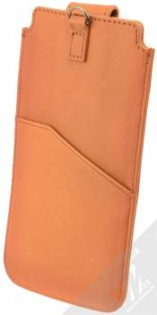 Bugatti Francoforte Full Grain Leather Universal Sleeve 2ML univerzální pouzdro z pravé kůže pro mobilní telefon, mobil, smartphone hnědá (cognac) zezadu