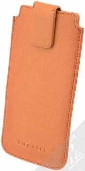 Bugatti Francoforte Full Grain Leather Universal Sleeve 2ML univerzální pouzdro z pravé kůže pro mobilní telefon, mobil, smartphone hnědá (cognac)