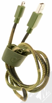 CellularLine USB Cable Army textilní USB kabel s microUSB konektorem zelená (camouflage) balení
