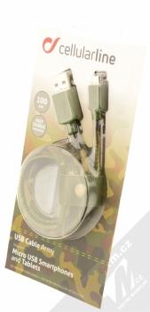 CellularLine USB Cable Army textilní USB kabel s microUSB konektorem zelená (camouflage) krabička