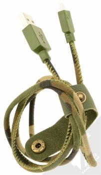 CellularLine USB Cable Army textilní USB kabel s microUSB konektorem zelená (camouflage) rozevřené