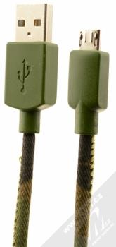 CellularLine USB Cable Army textilní USB kabel s microUSB konektorem zelená (camouflage)