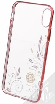 Devia Crystal Petunia pokovený ochranný kryt s motivem pro Apple iPhone X červená (red) zepředu