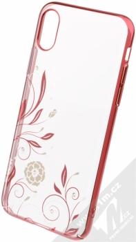 Devia Crystal Petunia pokovený ochranný kryt s motivem pro Apple iPhone X červená (red)