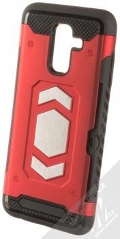 Forcell Magnet odolný ochranný kryt s kapsičkou a kovovým plíškem pro Samsung Galaxy A6 Plus (2018) červená (red)