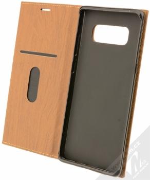 Forcell Wood flipové pouzdro s motivem dřeva pro Samsung Galaxy Note 8 hnědý dub (oak brown) otevřené