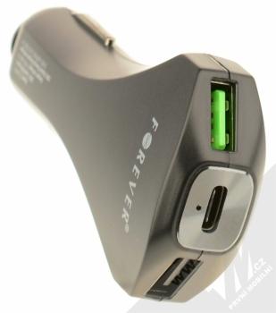 Forever PCC-02 2xUSB & Type-C Quick Charger nabíječka do auta s 2xUSB, 1xUSB Type-C výstupy a technologií Qualcomm Quick Charge 3.0 černá (black) konektory