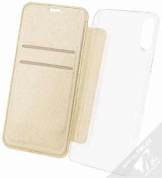 Guess Studs and Sparkle Booktype Case flipové pouzdro pro Apple iPhone X (GUFLBKPXPBUBE) zlatá (gold) otevřené