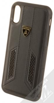 Lamborghini Huracan D6 Leather ochranný kryt z pravé kůže pro Apple iPhone X, iPhone XS (LB-TPUPCIPX-HU/D6-BK) černá (all black)