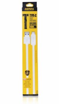 Remax Fast Flat plochý USB kabel s USB Type-C konektorem pro mobilní telefon, mobil, smartphone, tablet bílá (white)