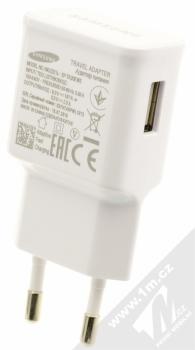 Samsung EP-TA20EWE originální nabíječka Adaptive Fast Charging s USB výstupem 9V/1,67A + Samsung EP-DN930CWE originální USB kabel s USB Type-C konekto bílá (white) nabíječka zezadu
