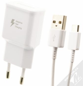 Samsung EP-TA20EWE originální nabíječka Adaptive Fast Charging s USB výstupem 9V/1,67A + Samsung EP-DN930CWE originální USB kabel s USB Type-C konekto bílá (white)
