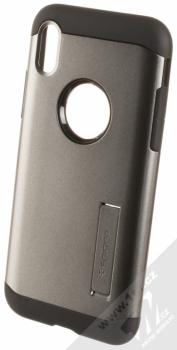 Spigen Slim Armor odolný ochranný kryt se stojánkem pro Apple iPhone X kovově šedá (gunmetal)