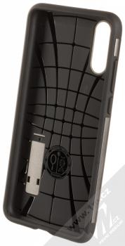 Spigen Slim Armor odolný ochranný kryt se stojánkem pro Huawei P20 kovově šedá (gunmetal) zepředu