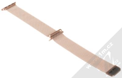 Tactical Milanese Magnetic magnetický pásek z leštěného kovu na zápěstí pro Apple Watch 38mm, Watch 40mm růžově zlatá (rose gold) rozepnuté