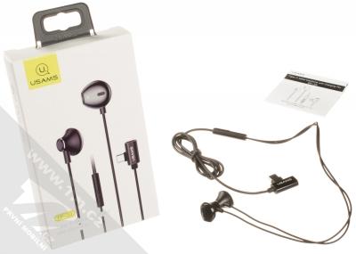 USAMS EP-33 Metal Earphone stereo sluchátka s rozdvojkou USB Type-C konektoru černá (black) balení