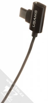 USAMS EP-33 Metal Earphone stereo sluchátka s rozdvojkou USB Type-C konektoru černá (black) USB Type-C rozdvojka