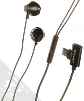 USAMS EP-33 Metal Earphone stereo sluchátka s rozdvojkou USB Type-C konektoru černá (black)
