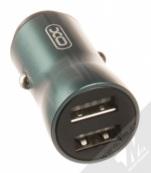XO CC28 nabíječka do auta s 2x USB výstupy 3,5A modrozelená (blue) USB výstupy