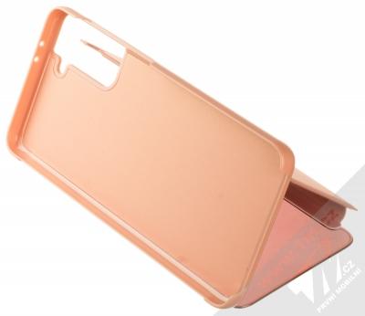 1Mcz Clear View flipové pouzdro pro Samsung Galaxy S21 Plus růžová (pink) stojánek