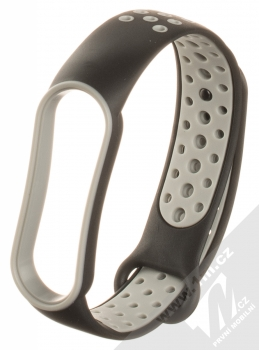 1Mcz Dots Double Color Silikonový sportovní řemínek pro Xiaomi Mi Band 5, Mi Band 6 černá šedá (black grey)
