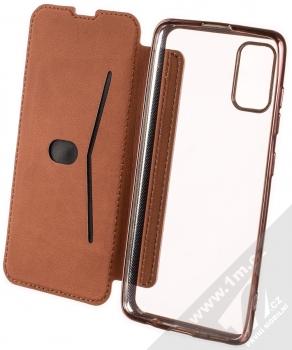 1Mcz Electro Book flipové pouzdro pro Samsung Galaxy A41 růžově zlatá (rose gold) otevřené