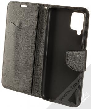 1Mcz Fancy Book flipové pouzdro pro Samsung Galaxy A12 černá (black) otevřené