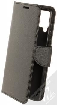 1Mcz Fancy Book flipové pouzdro pro Samsung Galaxy A12, Galaxy M12 černá (black)