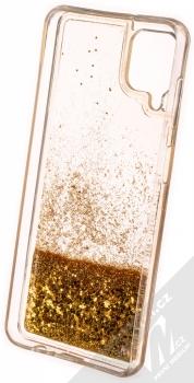 1Mcz Liquid Diamond Sparkle ochranný kryt s přesýpacím efektem třpytek pro Samsung Galaxy A12 zlatá (gold) zepředu