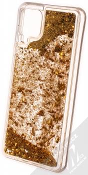 1Mcz Liquid Diamond Sparkle ochranný kryt s přesýpacím efektem třpytek pro Samsung Galaxy A12 zlatá (gold) zezadu