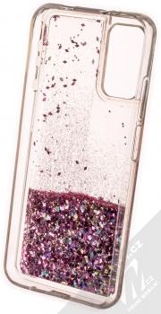 1Mcz Liquid Diamond Sparkle ochranný kryt s přesýpacím efektem třpytek pro Xiaomi Redmi 9T, Poco M3 růžově zlatá (rose gold) zepředu