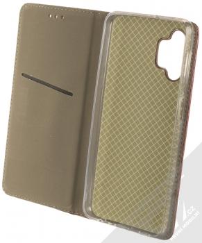 1Mcz Magnetic Book flipové pouzdro pro Samsung Galaxy A32 5G tmavě červená (dark red) otevřené