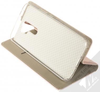 1Mcz Magnetic Book flipové pouzdro pro Xiaomi Redmi 9 růžově zlatá (rose gold) stojánek