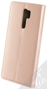 1Mcz Magnetic Book flipové pouzdro pro Xiaomi Redmi 9 růžově zlatá (rose gold) zezadu