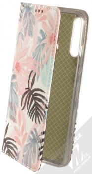 1Mcz Trendy Book Kapradí 3 flipové pouzdro pro Huawei P40 Lite E bílá růžová (white pink)