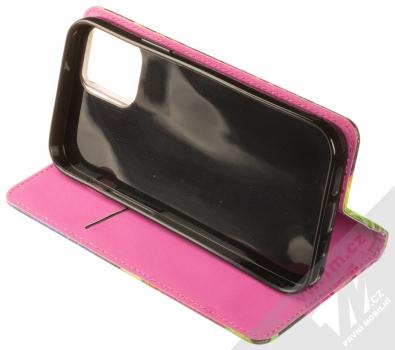 1Mcz Trendy Book Záhon ibišků v noční zahradě 1 flipové pouzdro pro Apple iPhone 12, iPhone 12 Pro černá (black) stojánek