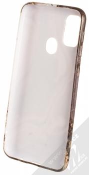 1Mcz Trendy Mramor TPU ochranný kryt pro Samsung Galaxy M21 bílá šedá (white grey) zepředu