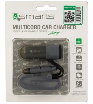 4smarts MultiCord nabíječka do auta s microUSB konektorem, Apple Lightning konektorem a USB výstupem 2,4A pro mobilní telefon, mobil, smartphone, tabl černá (black)