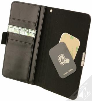 4smarts Ultimag Wallet Norwalk Croco do 5,8 univerzální flipové pouzdro stříbrná (silver) otevřené s kovovými plíšky