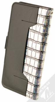 4smarts Ultimag Wallet Norwalk Croco do 5,8 univerzální flipové pouzdro stříbrná (silver) zezadu