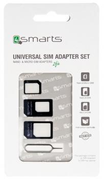 4smarts Universal SIM Adapter Set, sada microSIM a nanoSIM adaptérů pro mobilní telefon, mobil, smartphone, tablet černá (black)
