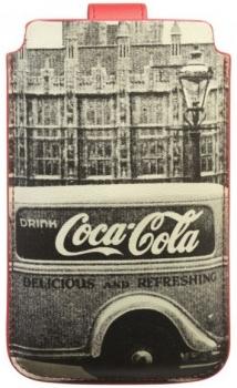 Coca Cola City Cab Sleeve XL kožené pouzdro pro mobilní telefon, mobil, smartphone zezadu