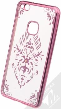 Beeyo Floral pokovený ochranný kryt pro Huawei P10 Lite růžová průhledná (pink transparent)