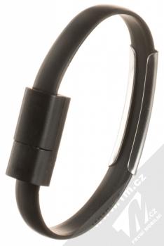 Blue Star Bracelet malý USB kabel s USB Type-C konektorem ve formě náramku na ruku černá (black) narámek zezadu