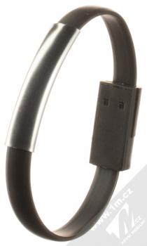 Blue Star Bracelet malý USB kabel s USB Type-C konektorem ve formě náramku na ruku černá (black) narámek