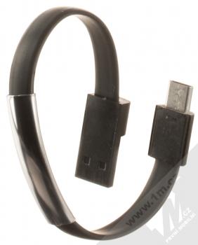 Blue Star Bracelet malý USB kabel s USB Type-C konektorem ve formě náramku na ruku černá (black)