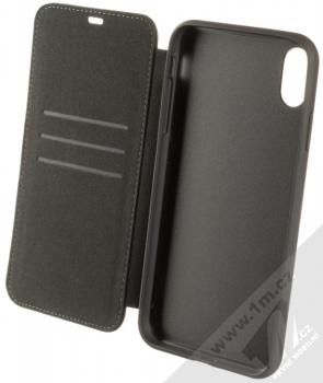 BMW Signature Real Leather flipové pouzdro z pravé kůže pro Apple iPhone XS Max (BMFLBKI65LLSB) černá (black) otevřené